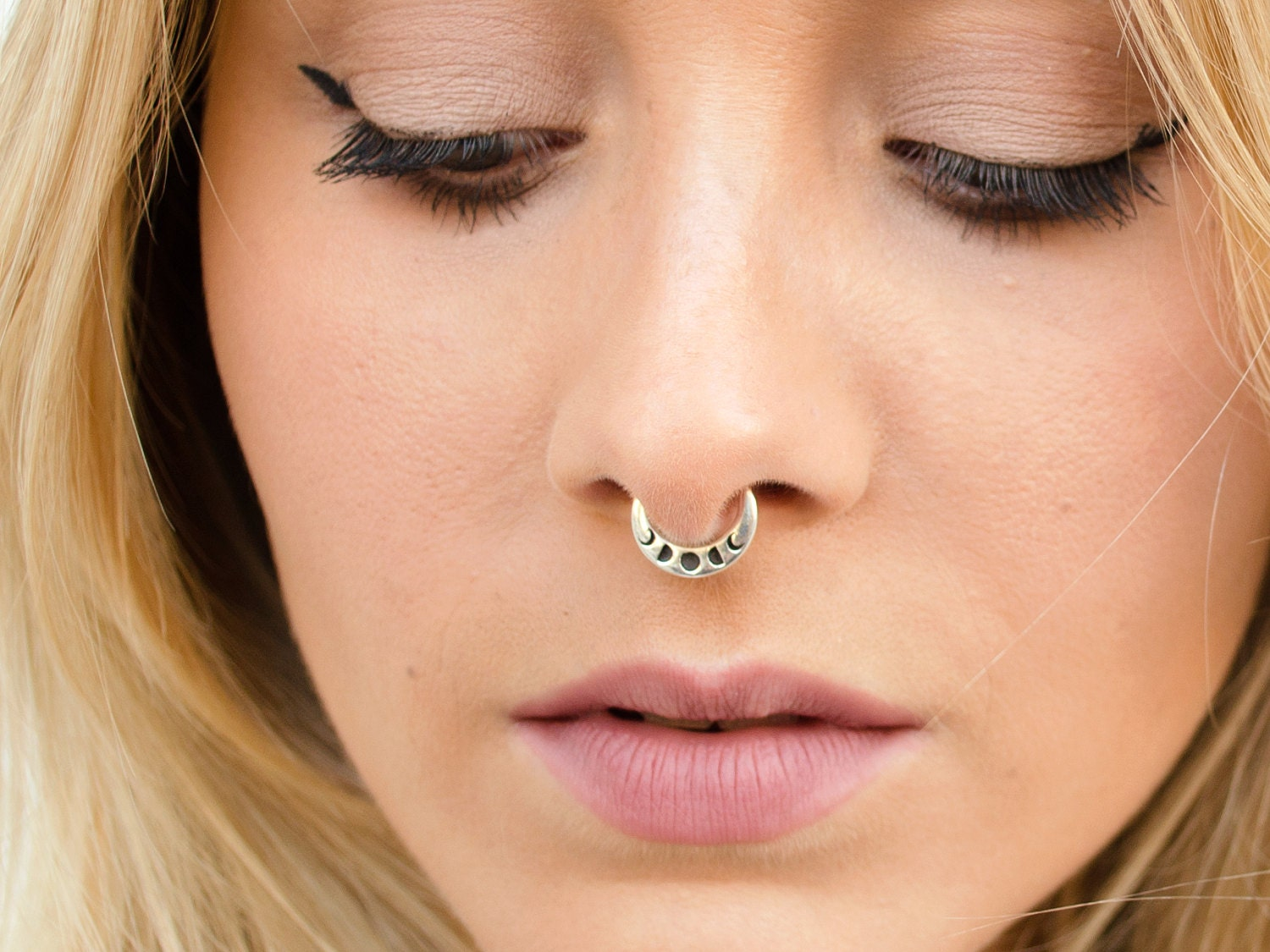 Moon Phase Septum Ring Nose Ring Celestial Jewelry Sterling Etsy