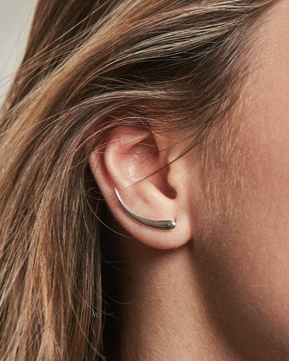 FES007 Yellow Gold Plated Ear Cuff Moon Sweep Ear wrap Pin Earrings Boho Jewelry