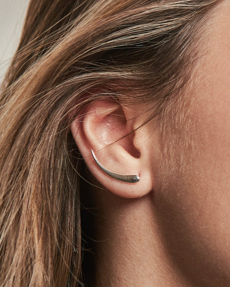 Sterling Silver Ear Cuff Earrings Celestial Crescent Moon image 0