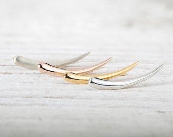 Sterling Silver Ear Cuff Crescent Moon Earrings Celestial Jewelry Ear Jacket Minimalist Earrings Boho Jewelry - FES007
