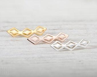 Aztec Style Sterling Silver Ear Cuff Ear Sweep Pin Earrings Boho Jewelry - FES016