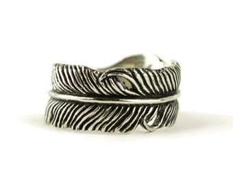 Feather Ring Sterling Silver Wrap Ring Adjustable Feather Band Boho Jewelry  Gift for Her - FRI002