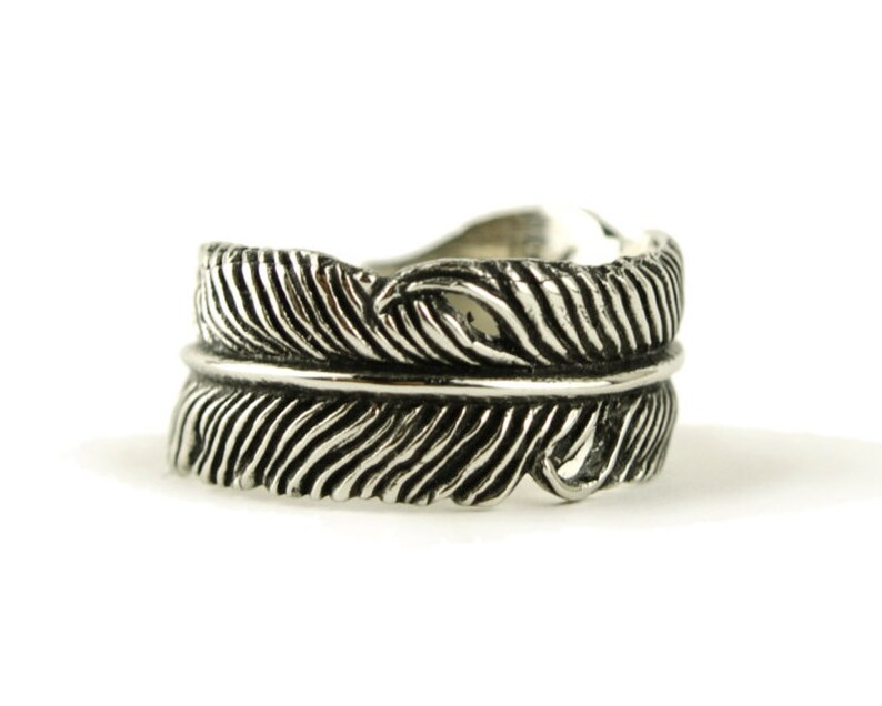 Feather Ring Sterling Silver Wrap Ring Adjustable Feather Band image 0