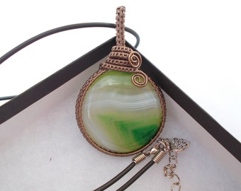 Green agate pendant , Wire wrapped pendant , Wire wrapped jewellery , Gemstone jewellery , Agate jewellery , Wire pendant , Wire jewelry