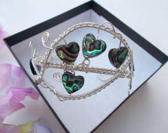 Abalone wire wrapped cuff bracelet - Wire wrapped handmade jewellery - Gemstone jewellery , Abalone jewellery , Gift for her , Wire jewelry