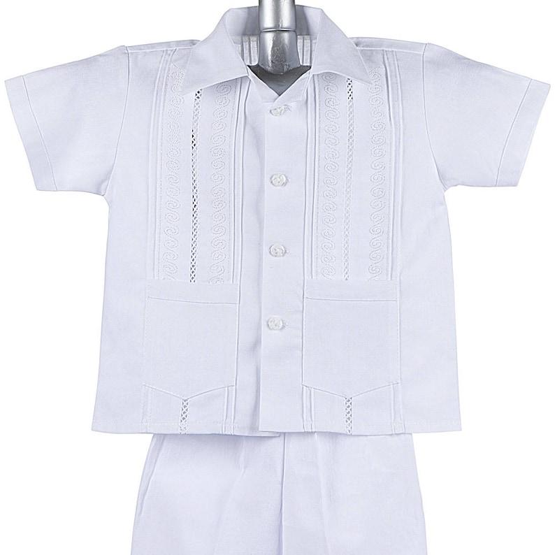 Boys Baptism Shorts w// Pants Set style CAP 801 Boys Guayabera Shirt Mexican Wedding Shirt Cotton Guayaberas