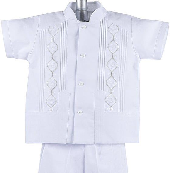 4 Years Old Blue /& White Guayabera Shirt /& Pant Set Traditional Catholic Mexican Baptism Outfit 6 Months