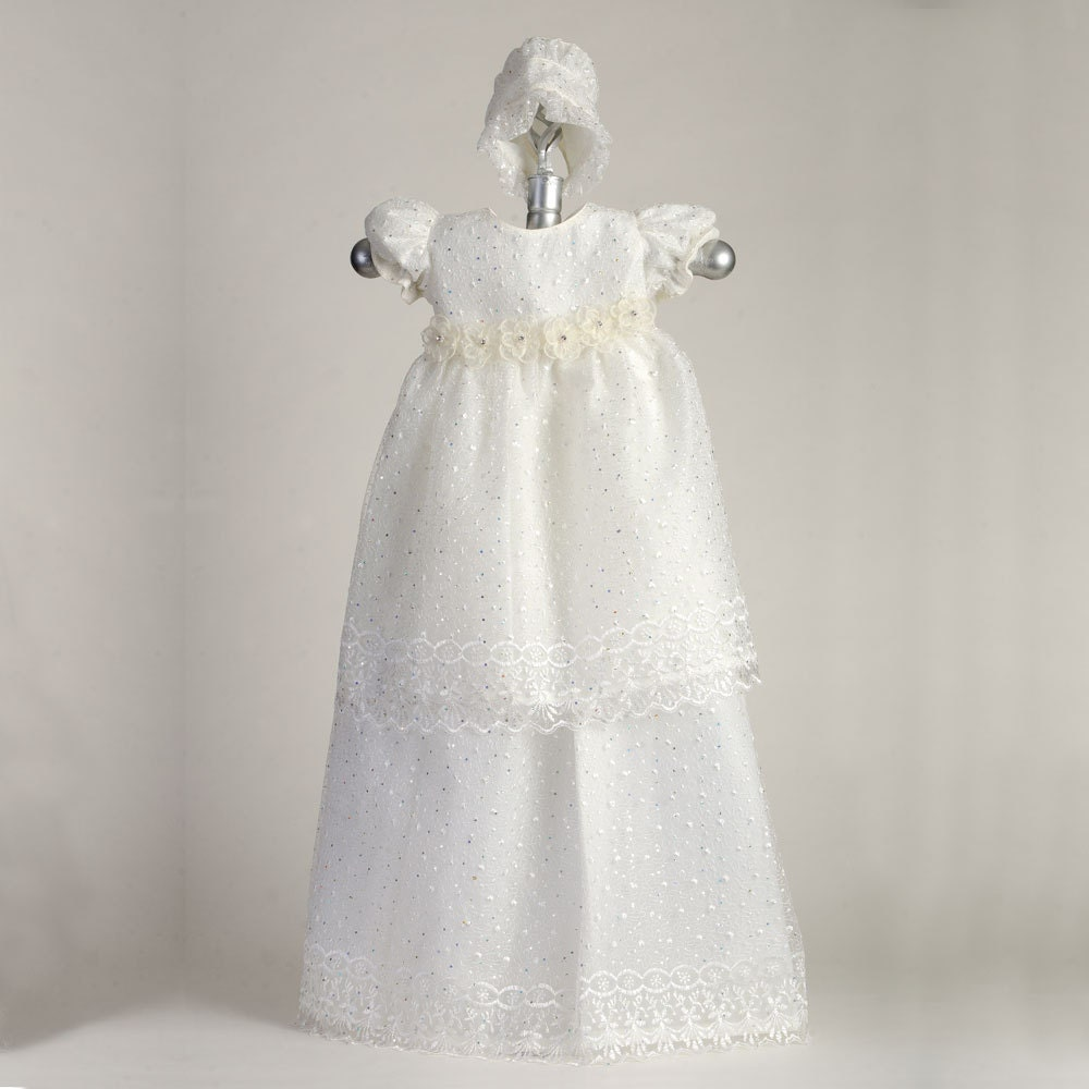 Glitzy Chantilly Lace Gown, BE5409, Cotton Baptism Gown, Christening ...