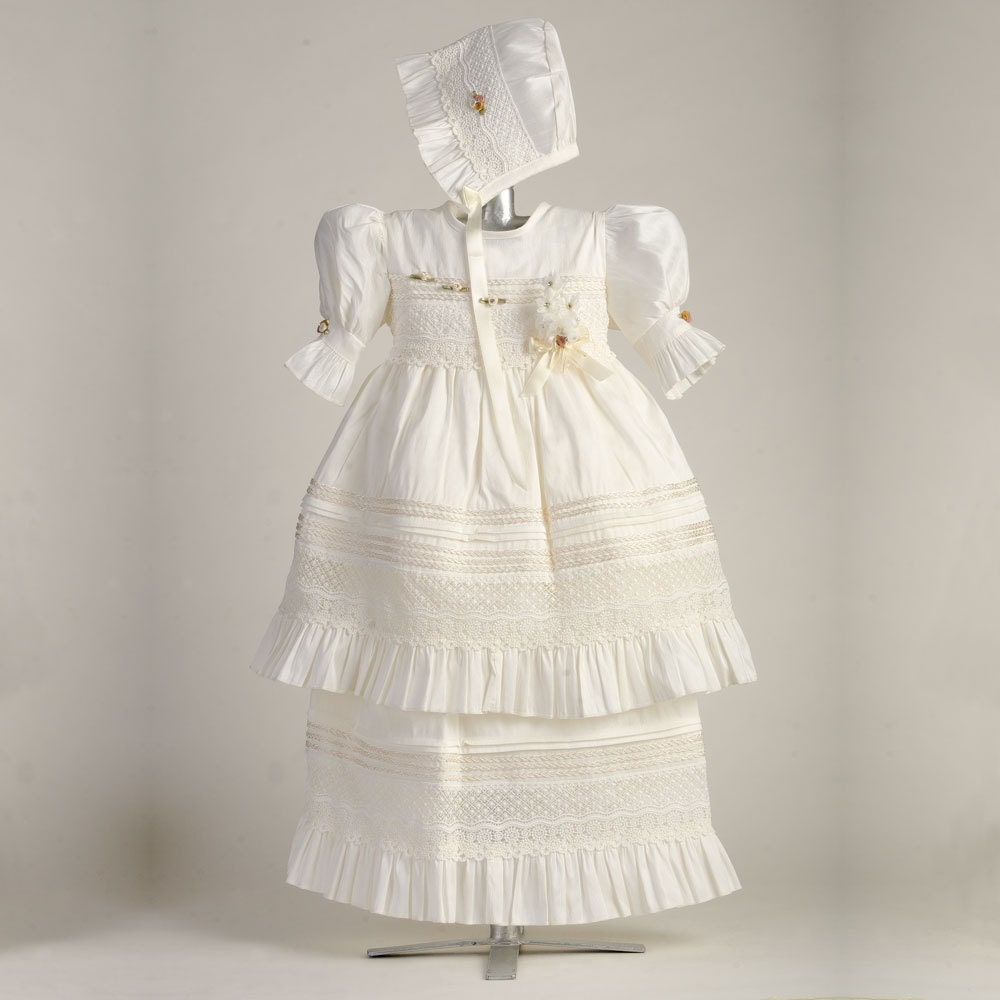 Dainty Guipure Gown, ADJ002, Girls Cotton Baptism Gown, Christening ...