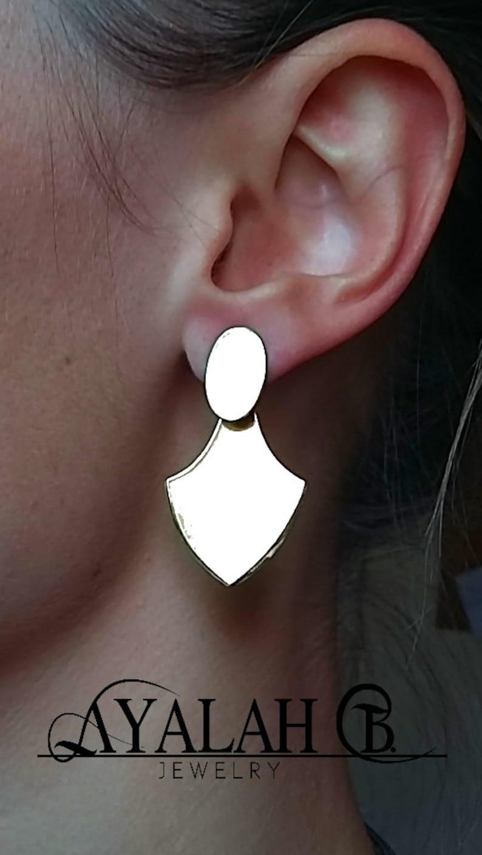 Shield Ear Jackets Two Piece Ear Studs