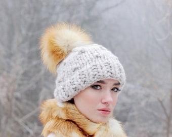 a7185b0280a Large fox fur pom pom Red fox fur Real fur pom pom balls for hats Furry pom  pom for hats