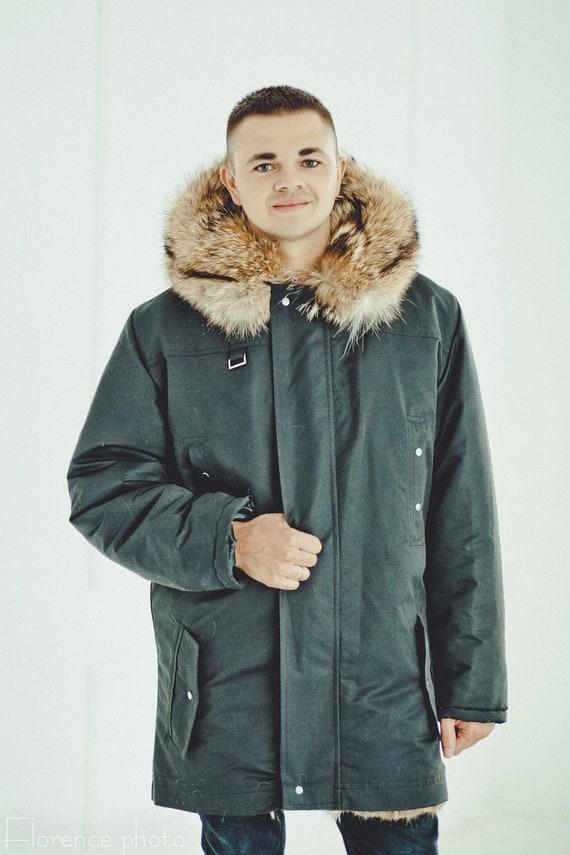 plus echt US428 mit leder in Winter natürliche 0Winter kragen waschbär warme männer luxus pelz jacken größe pelz leder gefüttert mantel jacke pelz A5j34LRq