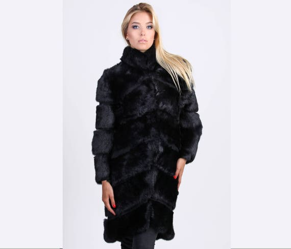 091702afe Rabbit Fur Coat Womens Winter Jacket Black Long Coat | Etsy