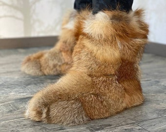 Fox Fur Boots Men Women - Real Fur Home Booties - Furry House Boots Shoes