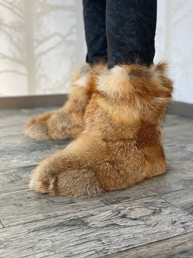 Fox Fur Boots Men Women  Real Fur Home Booties  Furry House image 1