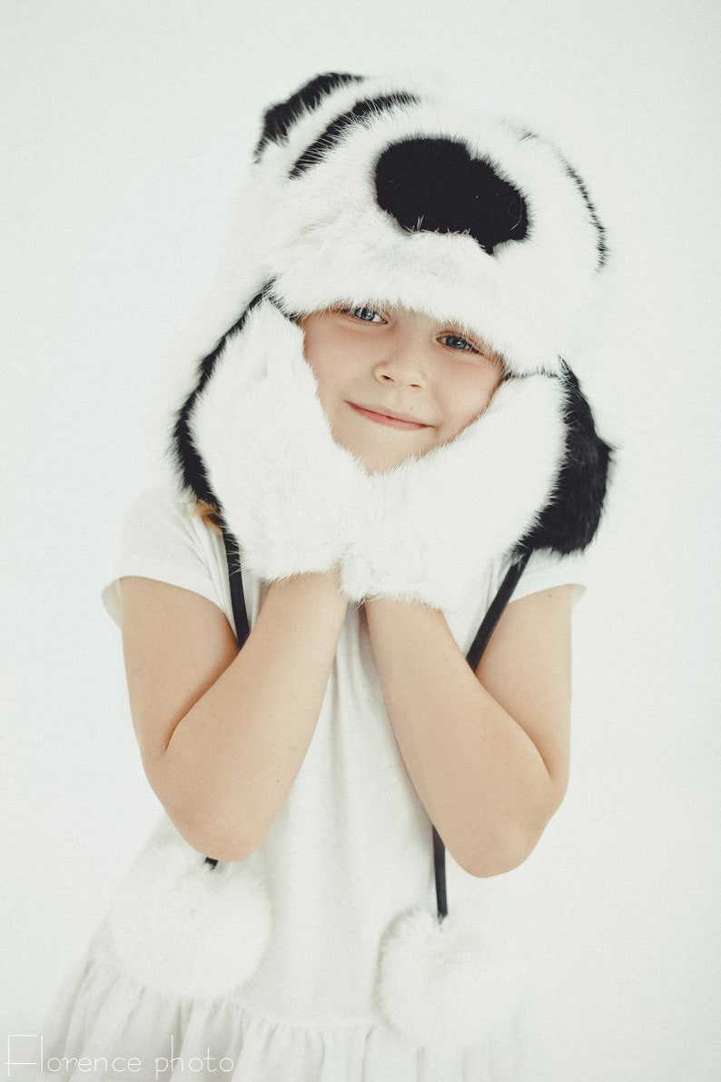 69ab9395602 Panda baby hat for little girl Kids beanie Real fur Russian