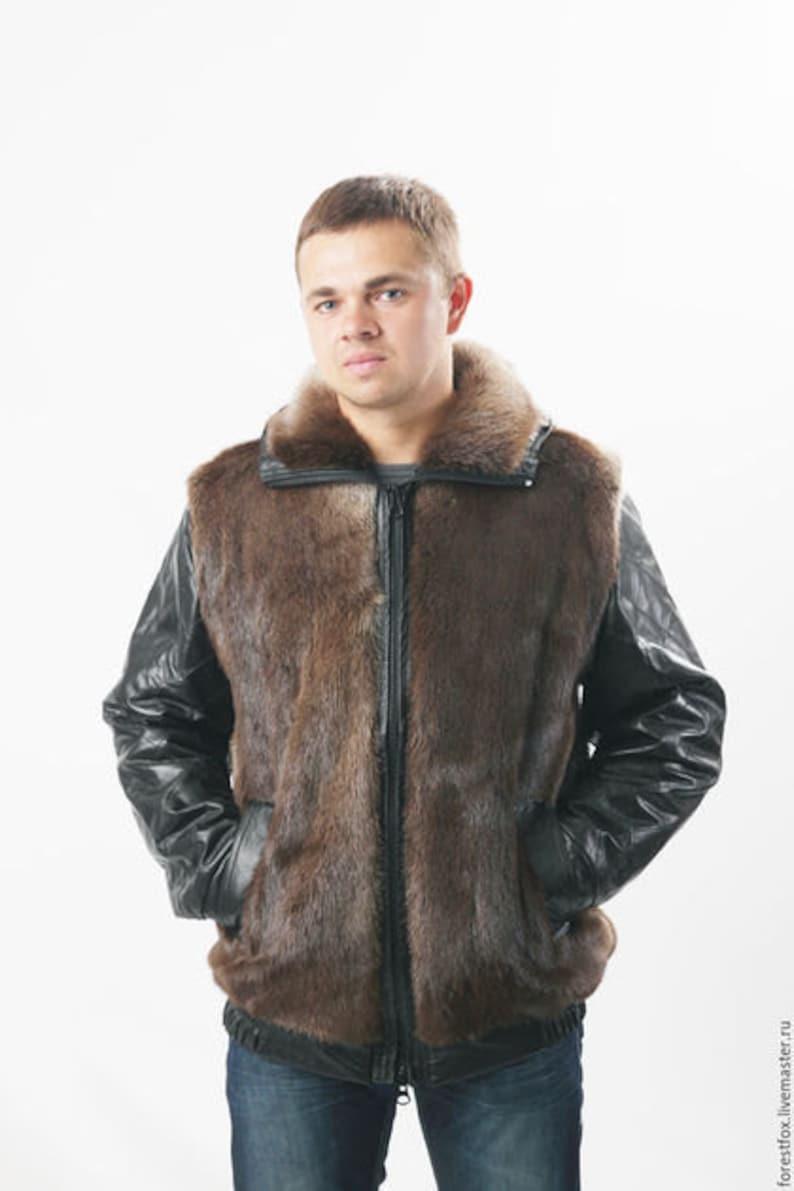 51fc461b092 Real mens fur jacket Winter Coat for men Bomber