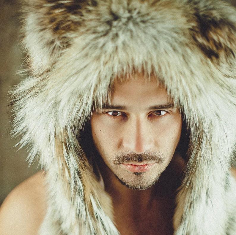 98ae61488 Mens Coyote Fur Hat - Fur Hood - Winter hats - Trapper Hat - Russian  Ushanka Hat