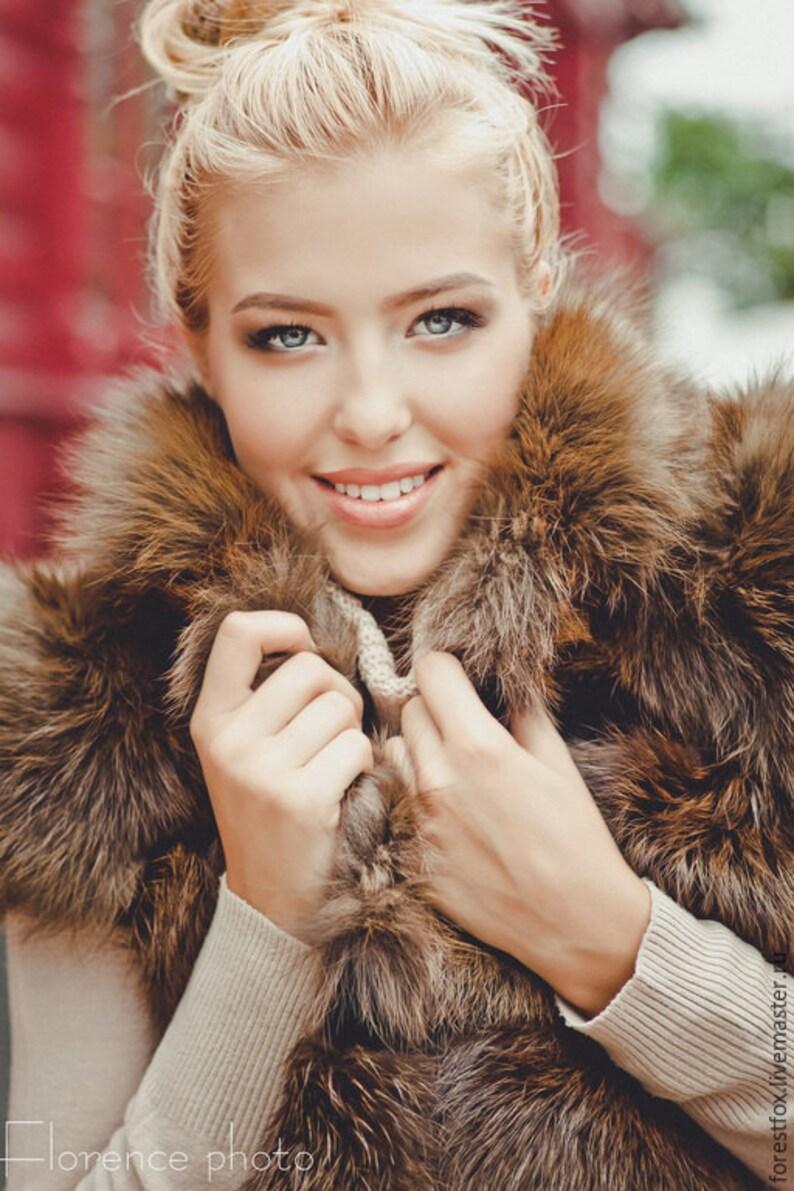 0d402e02163 Customized Real brown fox fur vest for women Russian fur coats