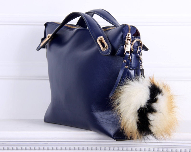 Real fur bag charm fur keychain fur pom pom fur ball pom  75f6580378e31