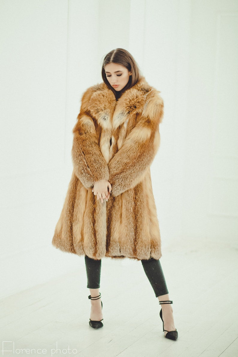 8d7c23251a57 Fox Fur Coat Long Winter Coats for women Oversized Fur | Etsy