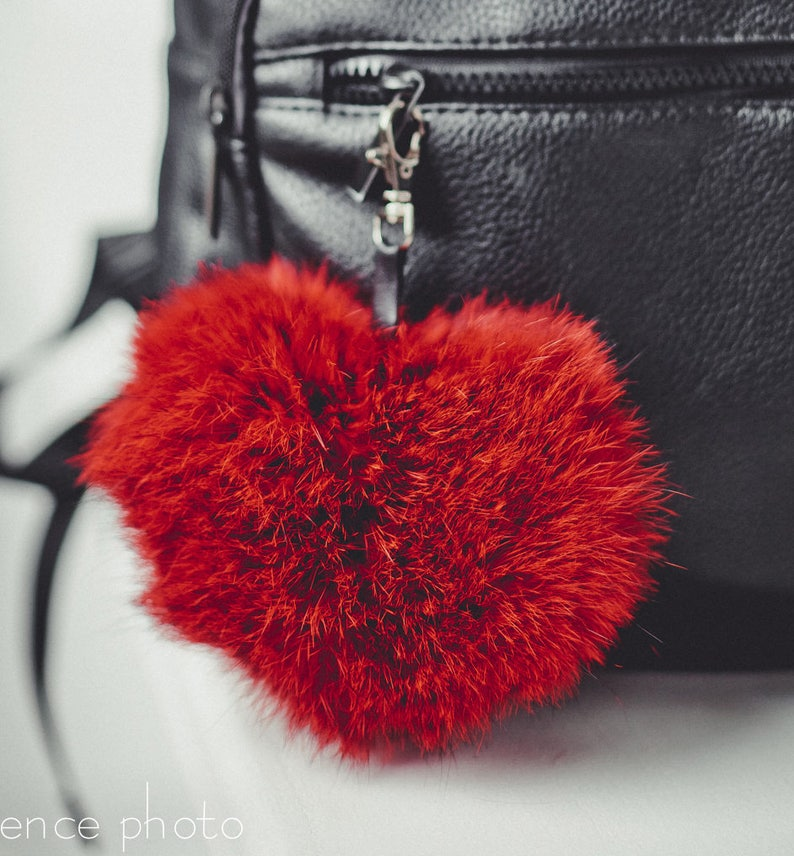 Heart shaped real fur bag charm fur keychain fur pom pom  2dd2b9bcea5ae