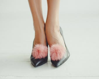 Pink Pom Pom Shoe Clips -  Real Fur Shoe Clips - Fur accessories for Shoes
