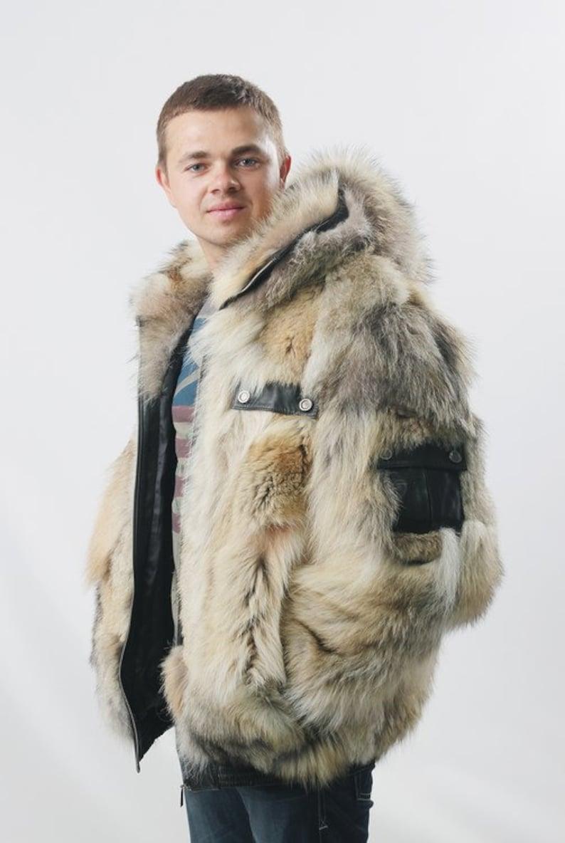 2e23dddff44e Real mens coyote fur jacket Coat men Mens coat Bomber jacket
