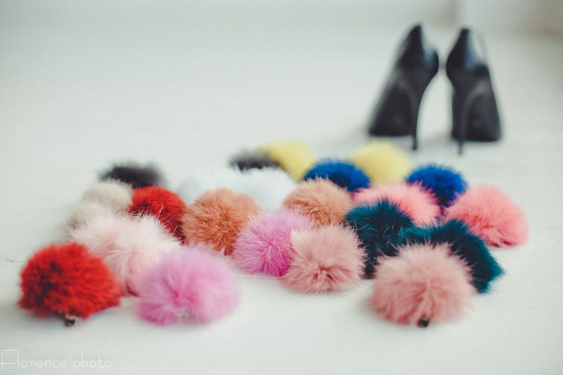 White Shoe clips Real Fur pom poms for weding Bridal  shoes