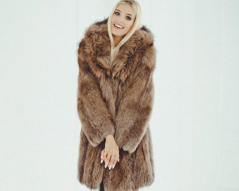 0c7cf672349 Brown Fur Coat Women - Oversized Winter Jacket - Womens Long Coat - Luxury  gift for her