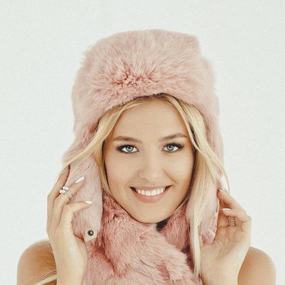 Pink fur hat for women- Winter ushanka hood - Russian beanie - Birthday gift 0e220b147c7