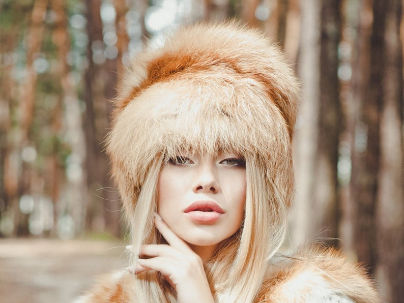 bc01a711d8e Real red fox fur hat for women Fur trapper hat Luxury