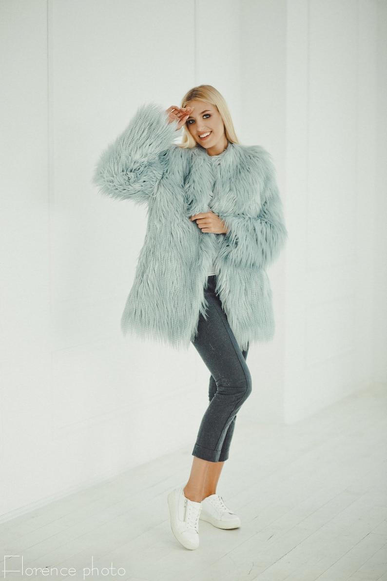 0ac68465e247 Blue Faux Fur Jacket Faux Fur Coat Faux Fur Coat Women