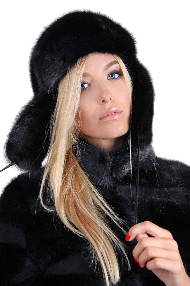 14156c3780c Real black mink fur hat with ears Luxury fur Russian ushanka