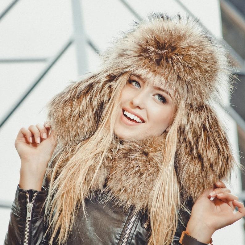 6517347bd2f Real raccoon fur hat for women Russian ushanka hat Fur trapper