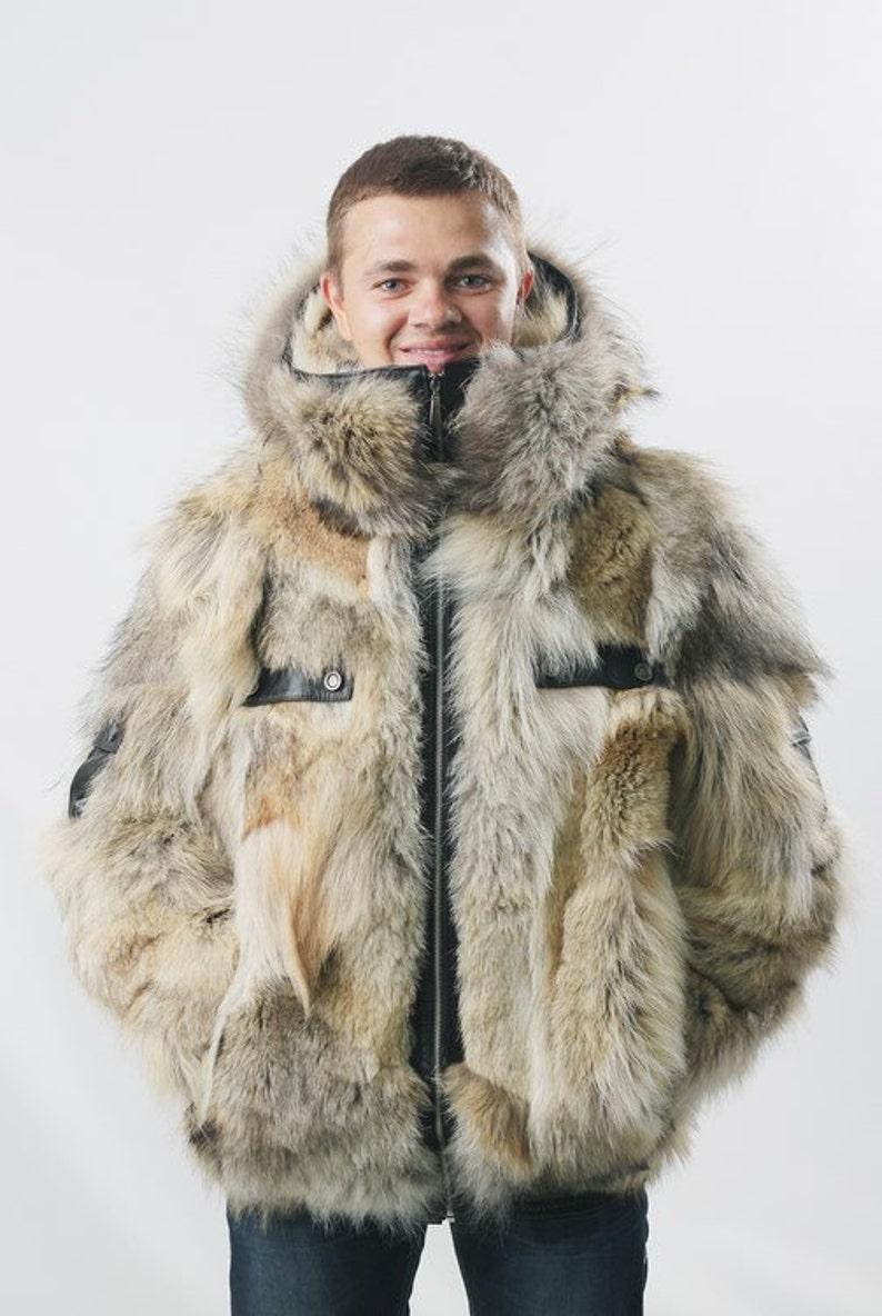 15f5e9e97ab Real mens coyote fur jacket Coat men Mens coat Bomber jacket
