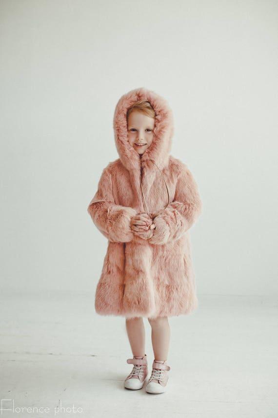 Winter Baby Kaninchen Kinder Pelz Mädchen Rosa Jacke Kleinkind Mantel Mäntel fg7y6b