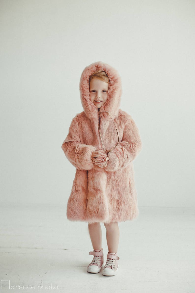 4872cbed93de0 Pink fur coat for kids Fur jacket Long coat Winter Kids coat