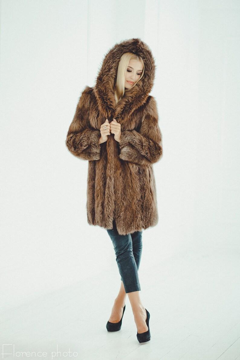52d95050a14b Brown Fur Coat Women Oversized Winter Jacket Womens Long | Etsy