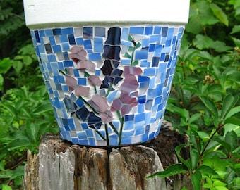 Custom Made Mosaic Planter with Larkspurs