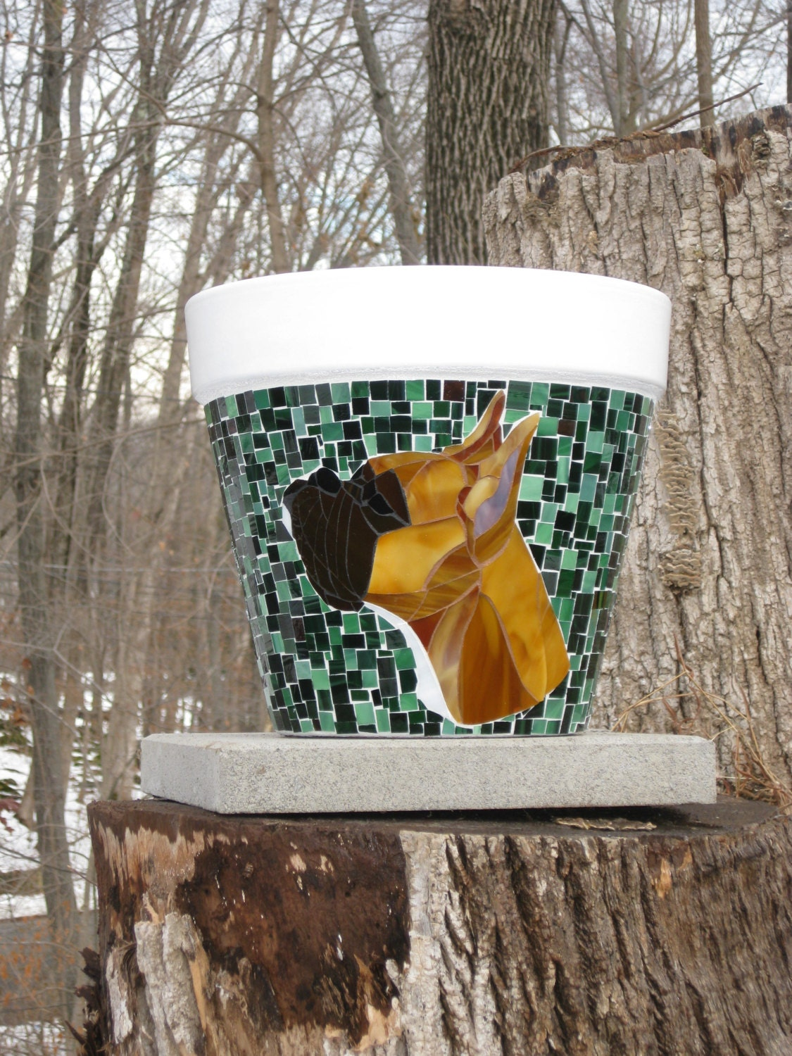Custom Made Mosaic Planter With Boxer Etsy