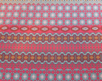1.75 yds --Great Ikat knit fabric in coral, aqua and white