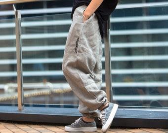 fce712aab4 Flax pants, Linen Pants for Woman Man, Striped linen trousers, Striped flax  pants, Harem flax Pants, Yoga Pants, Loose Man Woman Linen Pants