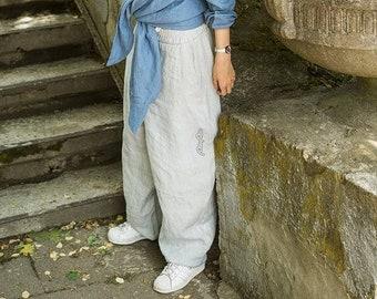 Gray linen Pants for man woman, Harem gray pants, Light Gray Linen trousers, Unisex Yoga Pants, Drop crotch Gray Pants, Festival clothing
