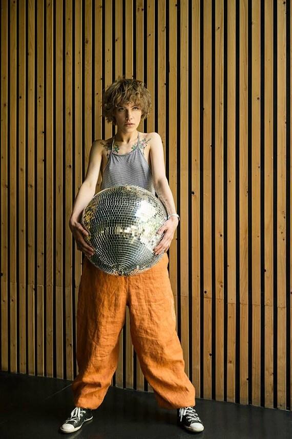 Harem baggy Meditation Yoga Pants Linen for Pants Loose linen pants man trousers woman Orange Orange Unisex Pants Wide Pants linen Zq0gzz