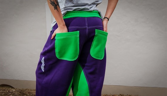 Comfortable amp; Sweatpants Dance Pants Pants Sweatpants Green Cool Baggy Purple Stylish Pants Unisex Cozy qtIAw