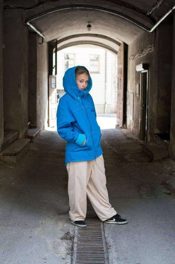 jacket Blue warm Big Blue Warm Jacket hood Men Hoodie Women hoodie hoodie Men Long Hoodie Blue rSqw4rZF