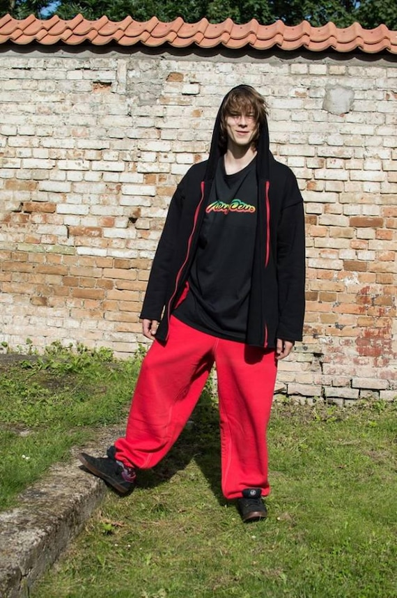 sweatpants Casual red Pants red man fit drop Cotton trousers Sweatpants baggy sizes for Pants woman pants Loose crotch Red plus BwZ1RxcS