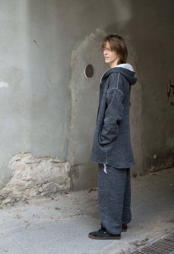 man hoodie hoodie gray hoodie woman unisex with hoodie cotton oversize melange Melange or long Long for pockets Gray melange Gray zip qO0wpP0