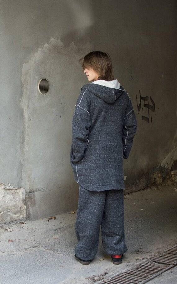 man hoodie hoodie gray hoodie woman unisex with hoodie cotton oversize melange Melange or long Long for pockets Gray melange Gray zip qO0wpP0